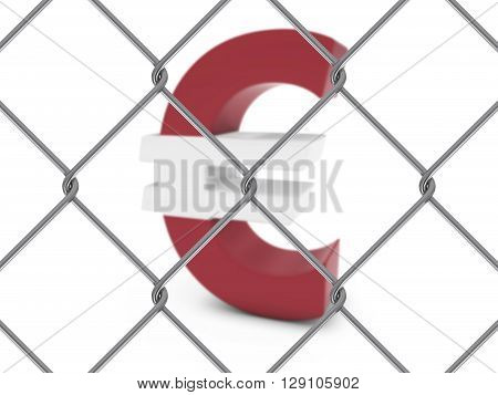 Latvian Flag Euro Symbol Behind Chain Link Fence With Depth Of Field - 3D Illustration