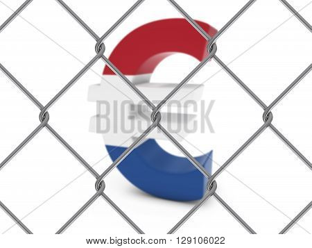 Dutch Flag Euro Symbol Behind Chain Link Fence With Depth Of Field - 3D Illustration