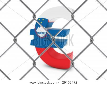 Slovenian Flag Euro Symbol Behind Chain Link Fence with depth of field - 3D Illustration