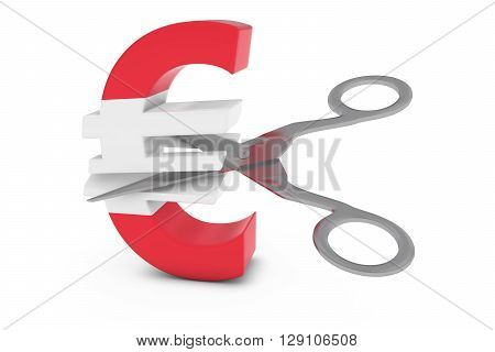 Austria Price Cut/deflation Concept - Austrian Flag Euro Symbol Cut In Half With Scissors - 3D Illus