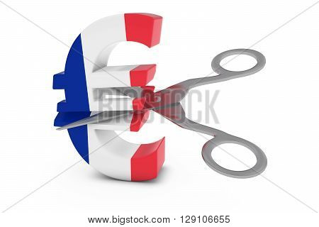 France Price Cut/deflation Concept - French Flag Euro Symbol Cut In Half With Scissors - 3D Illustra