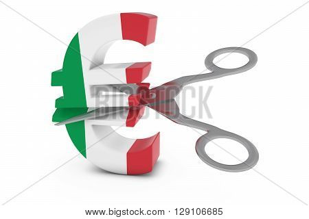 Italy Price Cut/deflation Concept - Italian Flag Euro Symbol Cut In Half With Scissors - 3D Illustra