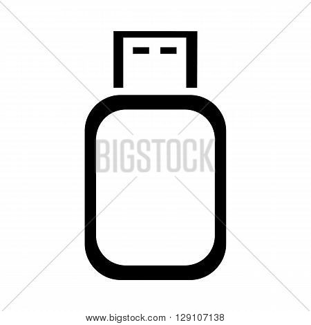 USB flash drive black and white icon.