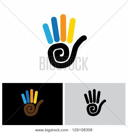 Stop Hand Sign Vector Logo Line Icon