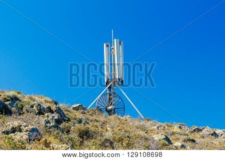 Panel Antenna mobile communication against  blue sky. Plate telecommunications antenna. Cellular communication .