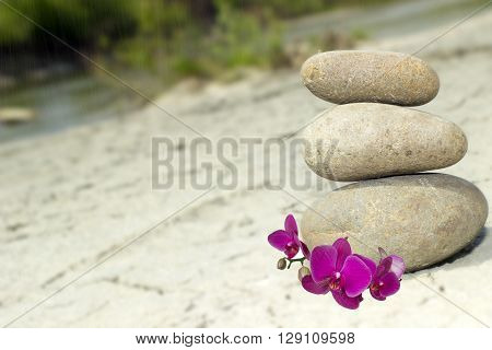 Balance and spa treatment scene concept background with stones
