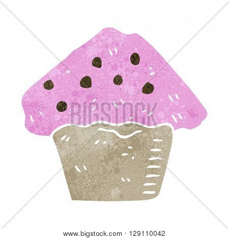 freehand retro cartoon strawberry muffin