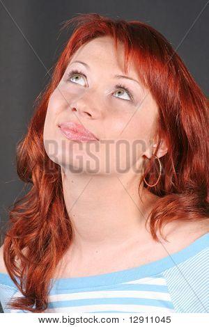 Portrait Of Romantic Redheaded Beautiful Woman