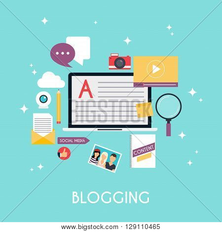 Template blogging infographics. Blog concept design. Flat design style modern vector illustration concept.