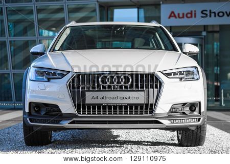 MUNICH, GERMANY - MAY 6, 2016: Audi A4 allroad quattro is new modern SUV car model with four wheel drive system and powerful diesel engine.