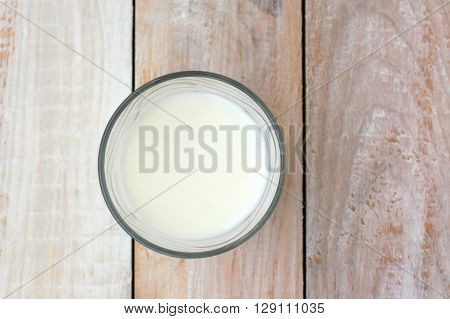 White Milk In The Glass On The Wooden Background