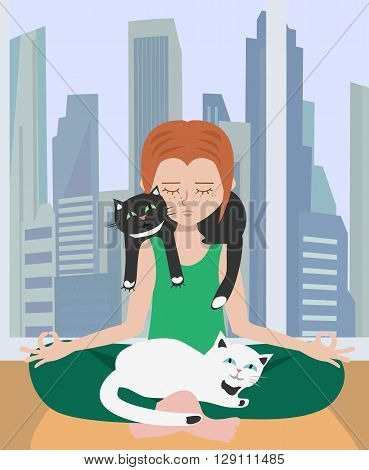 doing yoga at home with cats - image illustrating relaxation in stressful atmosphere