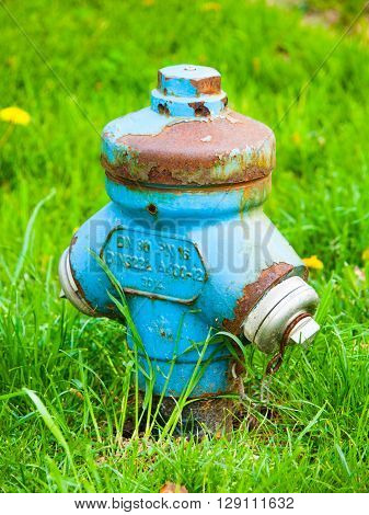 Blue metal fire hydrant with rusty parts in the green grass