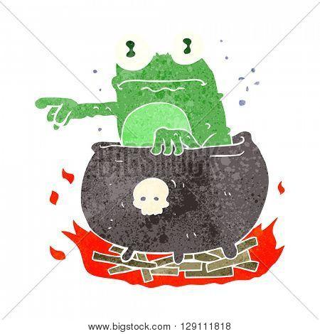 freehand retro cartoon halloween toad in cauldron