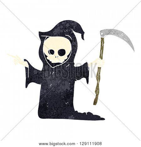 freehand retro cartoon death with scythe