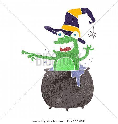 freehand retro cartoon halloween toad