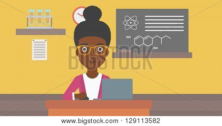 Woman studying with laptop.