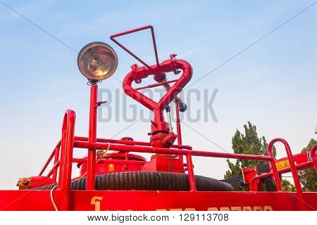 Fire truck ready for deployment . red