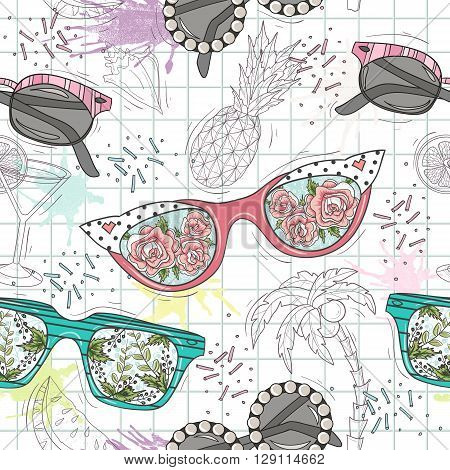 Cute summer abstract pattern. Seamless pattern with sunglasses. Fun pattern for children or teenager girls.