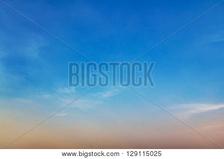 Beautiful blue sky and clouds at sunset time