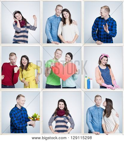 Nine small pictures of cheerful young people in relationship having common interests