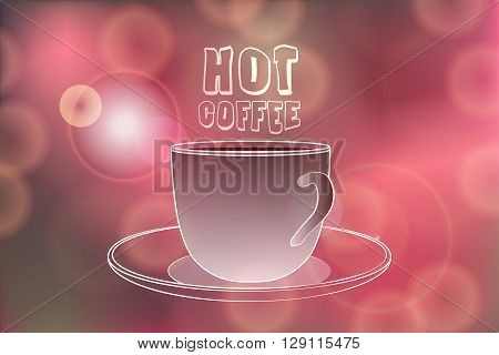 Hot coffee banner with Hot coffee words on Festive bokeh lights abstract background. Cafe menu banner. Hot coffee vector illustration