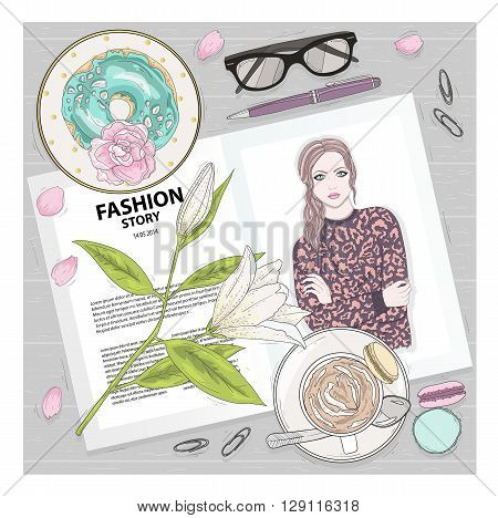Breakfast background with magazine coffee macaroons flower gasses and berries. Cute flat lay fashion illustration for girls or women.