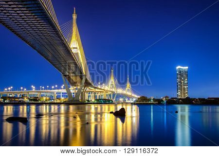Bhumibol Bridge in Bangkok Thailand also known as the Industrial Ring Road Bridge. The bridge crosses the Chao Phraya River.