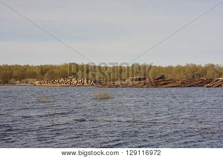wood stack pile in water. Flood in west Siberia. ** Note: Visible grain at 100%, best at smaller sizes
