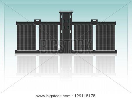 Grain elevator. Isolated on background. Vector illustration.