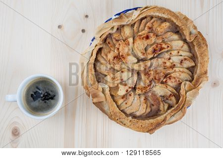 Home Made Caramelized Apple Tart With Coffee