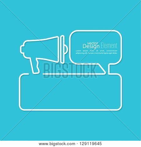 Megaphone, loudspeaker with bubbles speech. for social media marketing concept. Notification through the speaker, advertisement bullhorn. Chat symbol. Outline.