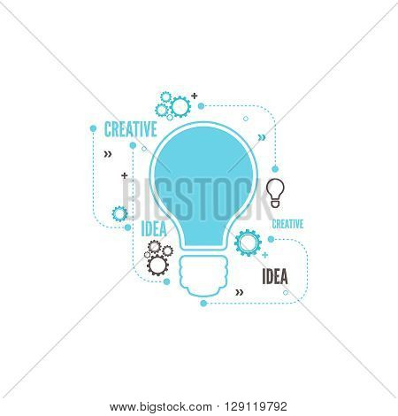 Electric lamp and gear. Bulb light idea. concept of big ideas inspiration innovation, invention, connection and operation engineering, teamwork, breakthrough.