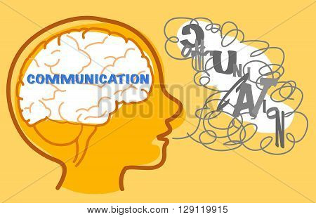 Children with autism wants to communicate but they find it difficult. Vector illustration.