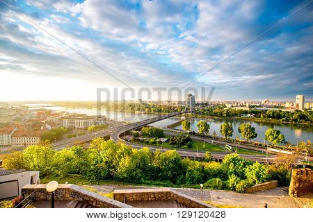 Bratislava cityscape view on the southern part of the city with modern bridge and Danube river from the castle hill on the morning in Slovakia