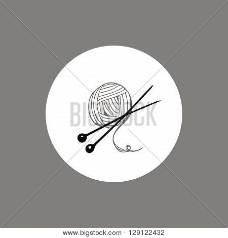 Knitting yarn skein and needles icon or logo design . Vector hand drawn line art. Perfect for handmade shops, business cards, flyers, branding.