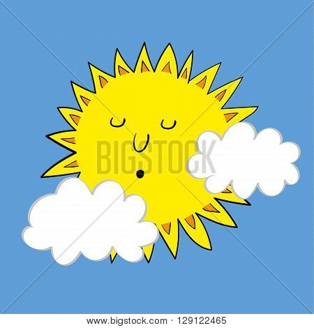 Vector illustration of a blazing yellow sign in a blue sky with a couple of small white clouds floating by