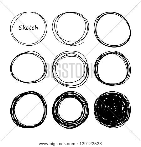 Hand drawn scribble, set of doodle circles, isolated on white background. Vector texture illustration. Logo design elements. Abstract geometric backdrop.