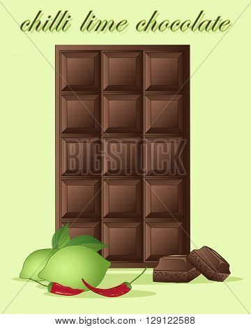 an illustration of a bar of chocolate flavored with lime zest and chilli heat with text on a light green background