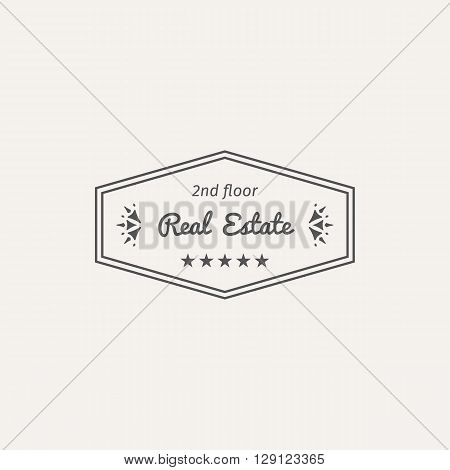 Asian real estate logo template. Vector ethnic ornamental design for agency, house and apartment rental, construction services or apartment repairs.