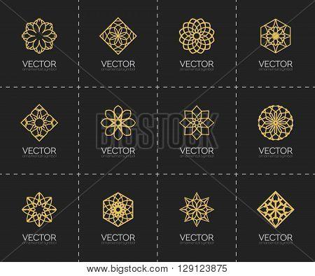 Lineart ornamental logo templates set. Vector geometric symbols
