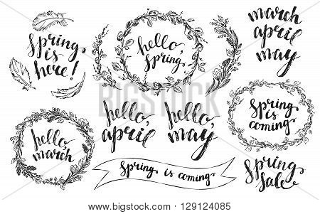 Hand drawn spring wreaths with lettering. Spring flowers with hyacinth and crocus willow branches and leaves wreath feathers. Hello spring march april may hand lettering.