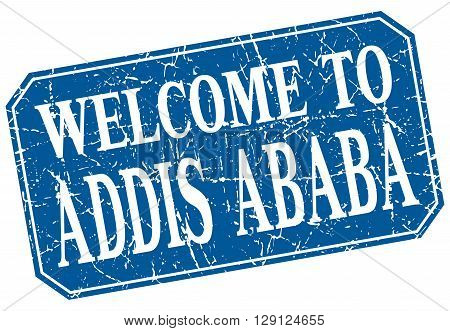 welcome to Addis Ababa blue square grunge stamp