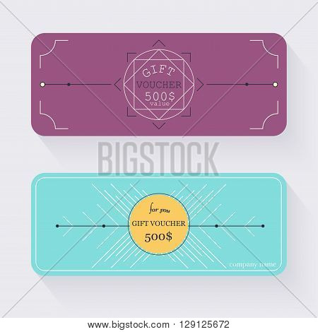 Gift voucher template. Gift certificate. Background design gift coupon voucher certificate invitation currency. Collection gift certificate. Vector illustration.