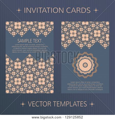 Set of two vector cards. Ethnic design vector template. Invitation template cards. Vector card template with geometric ornament. Invitation templates. Vector templates for book or album cover.