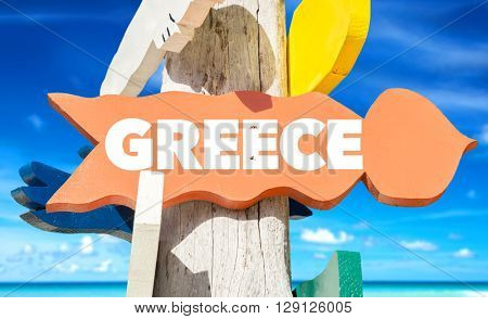 Greece signpost with beach background