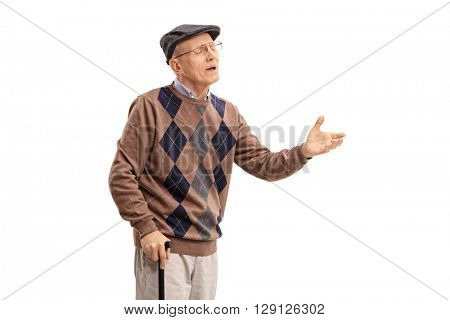 Studio shot of a displeased senior arguing with someone isolated on white background