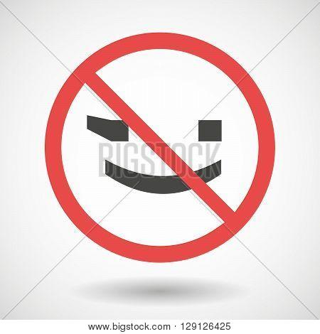 Forbidden Vector Signal With   A Wink Text Face Emoticon
