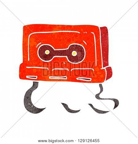 freehand retro cartoon cassette tape