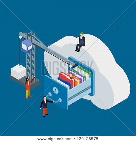 Cloud Data Storage Flat 3D Isometric Business Technology Server Concept